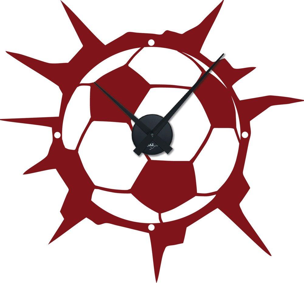 Tattoo Wanduhr inkl. Uhrwerk Wanddeko für Kinderzimmer Fußball Ball Sport (Uhr Schwarz//030 dunkelrot) jetzt kaufen
