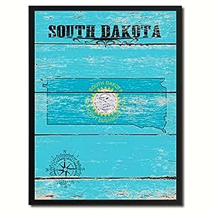 Amazon.com: South Dakota State Flag Map Art Picture Frame Vintage