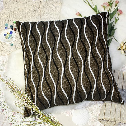 Bettino - [Brown Wave] Decorative Pillow Cushion / Floor Cushion (23.6 by 23.6 inches)