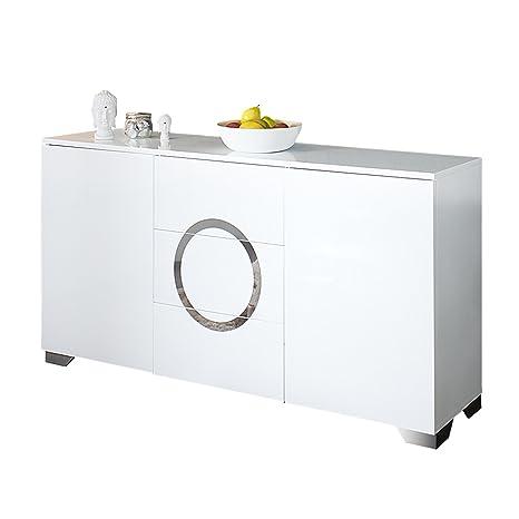 Exklusives Sideboard ZEN Hochglanz weiß 160cm mit Edelstahl Applikationen Kommode Schrank