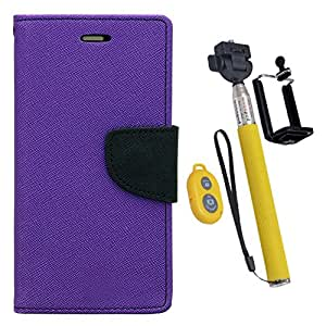 Aart Fancy Diary Card Wallet Flip Case Back Cover For Samsung Z1 - (Purple) + Remote Aux Wired Fashionable Selfie Stick Compatible for all Mobiles Phones By Aart Store