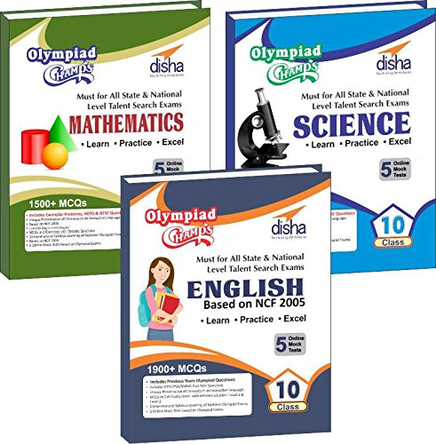 Olympiad Champs Science, Mathematics, English Class 10 with 15 Mock Online Olympiad Tests (set of 3 books)