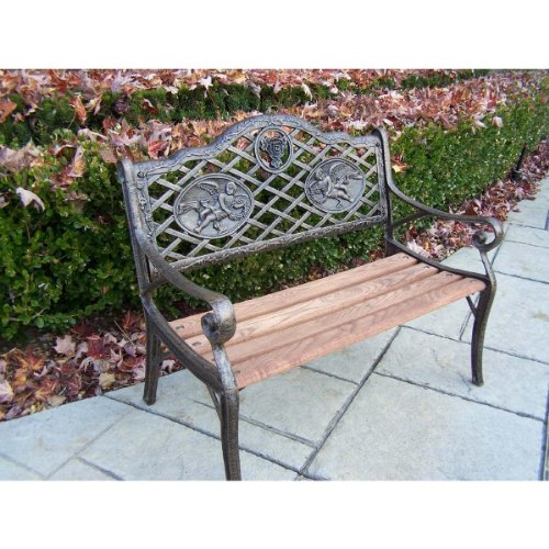 Oakland Living Mini Angel Garden Bench, Antique Bronze