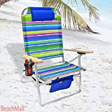 Extra Large - High Seat Heavy Duty 4 Position Beach Chair w/ Drink Holder