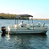 """4 BOW GRAY BIMINI BOAT COVER TOP WITH ZIPPERED BOOT FITS 67""""-72"""" WIDTH BEAM BOAT COVERS V-HULL FISHING SKI BOAT RUNABOUT PRO BASS INBOARD OUTBOARD BOAT COVERS BIMINI"""
