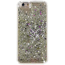 iPhone 6S Case,NSSTAR iPhone 6 Case. iPhone 6S Liquid Case,Fashion Creative Design Flowing Liquid Floating Bling Glitter Sparkle Moon Stars Shape Hard Case for Apple iPhone 6S (2015)/ iPhone 6 (2014)