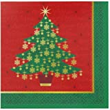 16x Golden Christmas Dinner/Party Paper Napkins / Christmas Tree