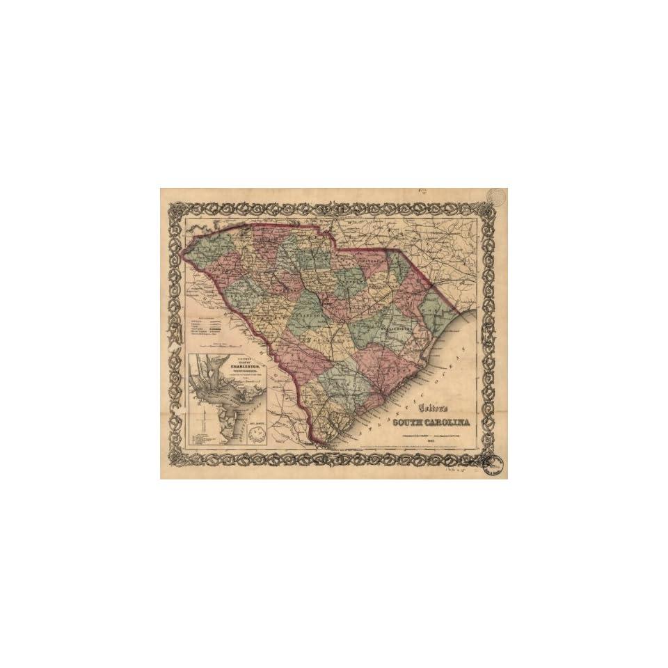 1865 Civil War Vintage Map South Carolina Coltons South Carolina. Insets Coltons plan