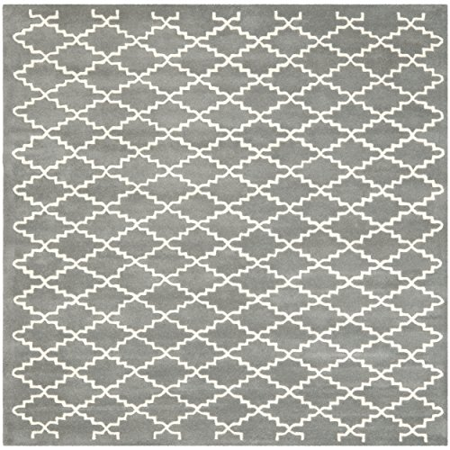 Safavieh Chatham Collection CHT721D Handmade Dark Grey and Ivory Wool Square Area Rug, 8 feet 9 inches by 8 feet 9 inches Square (8'9