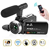 "Camcorder Digital Video Camera, Camcorder with Microphone WiFi IR Night Vision Full HD 1080P 30FPS 3"" LCD Touch Screen Vlogging Camera with Remote Control (Color: V01)"