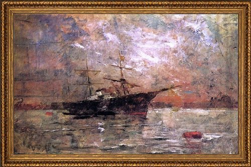 "Frank Duveneck Steamer At Anchor Twilight Venice - 16"" X 24"" Framed Premium Canvas Print front-549552"