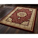 Heritage 4400 Red - 200 x 290cm Made From 100% Polypropylene Machinecm Made Traditional Heat Set Yarn Rug