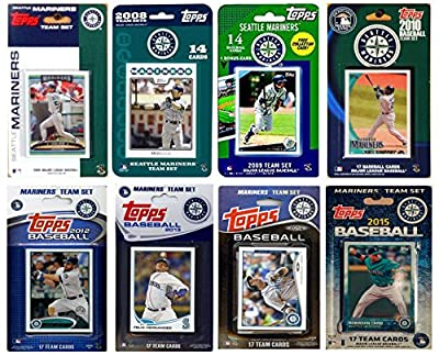 "MLB Seattle Mariners 8 Different Licensed Trading Card Team Sets, 4"" x 7"""