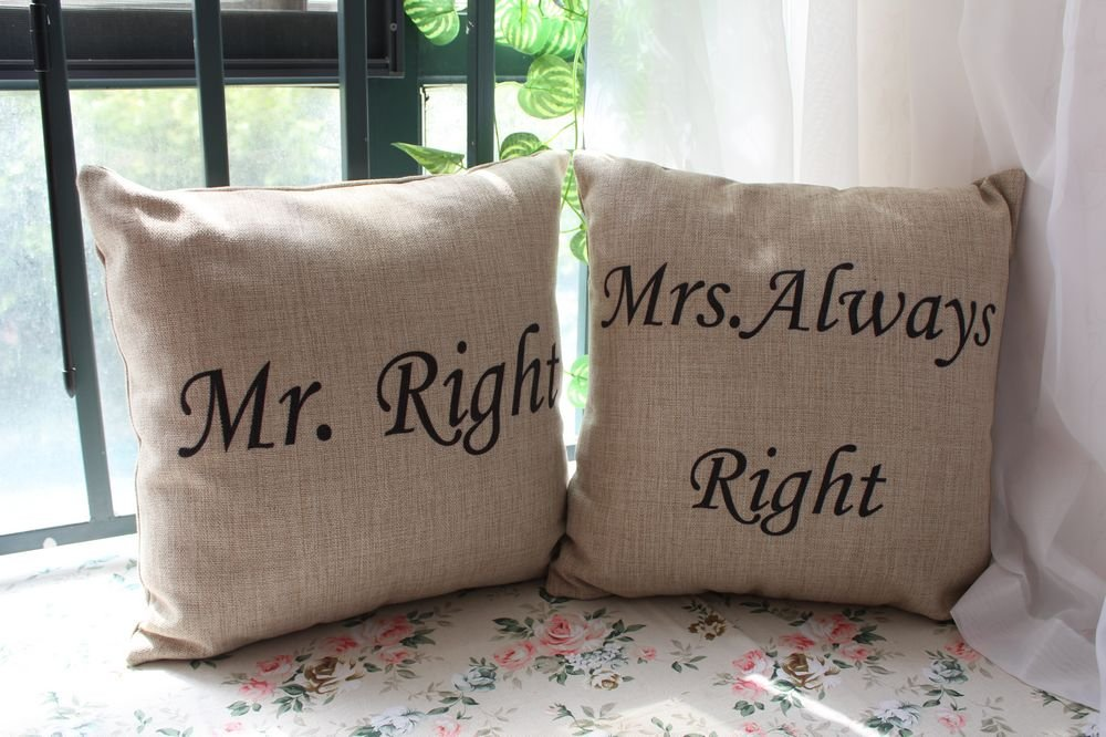 LINKWELL 2pcs Mr. Always Right Mrs. Always Right Pillow Cases Cushion Cover 2pcs right