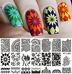 New 1 Pc Various Arabesque Flower Pattern Nail Art Stamp Template Image BP Nail Stamping Plate BORN PRETTY L008