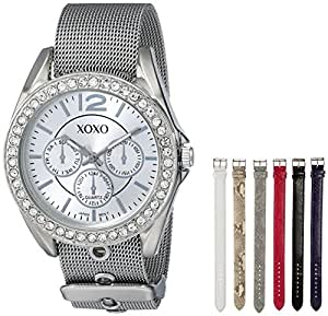 XOXO Women's XO9053 Rhinsetone-Accented Watch with Interchangeable Straps