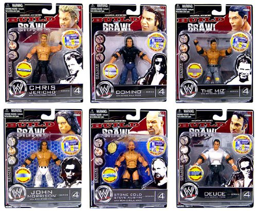 WWE Wrestling Build N' Brawl Series 4 Set of 6 Mini 4 Inch Action Figures (Wwe Build N Brawl Ring compare prices)