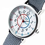 Picture Of EasyRead Time Teacher Children's Watch, 'Minutes Past' and 'Minutes To', Red, Blue, Grey Face / Grey Strap