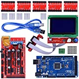 3D Printer Controller Kit for Arduino Mega 2560 Uno R3 Starter Kits + RAMPS 1.4 with Upgraded Mosfet + 5pcs A4988 Stepper Motor Driver + LCD 12864 for Arduino Reprap (14 items)