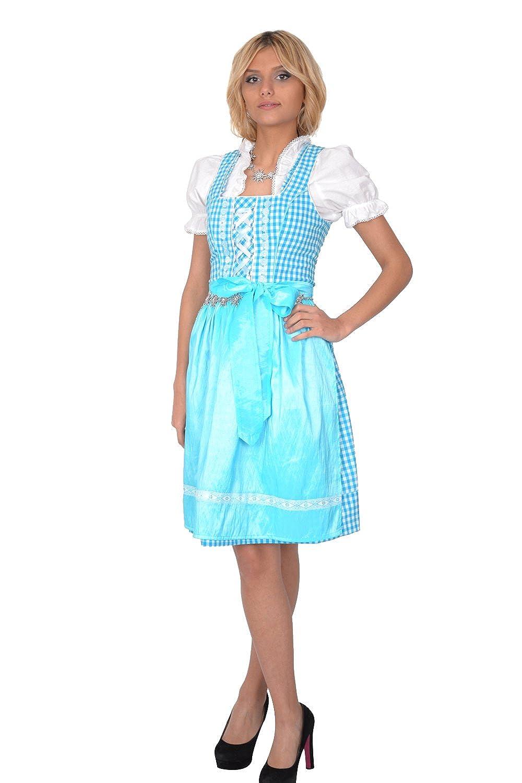 Dirndl Set Trachtenkleid 3tl. Blau Weiß kariert online bestellen