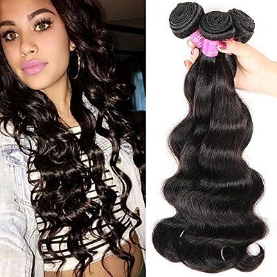 VRBest Hair 6a Brazilian Virgin Hair Body Wave 3 Bundles 100% Unprocessed Virgin Human Hair Weave Extensions Natural Color (100+/-5g)/pc