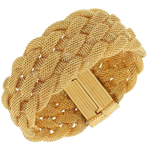 Gold Silver-Tone Wide Mesh Braided Womens Fashion Bangle Bracelet With Magnetic Clasp (Yellow Gold-Tone)