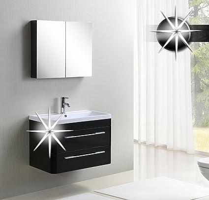 Set mobili da bagno - Mobili da bagno Milan Nero lucido - MC802-HG-B/1831 - Armadio a specchio - Waschbecken - Unterschrank
