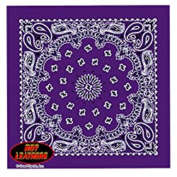 """Hot Leathers Bikers Bandanas Collection Original Design, 21"""" x 21"""" - BANDANA PURPLE PAISLEY DESIGN by Officially Licensed & Trademarked Products"""