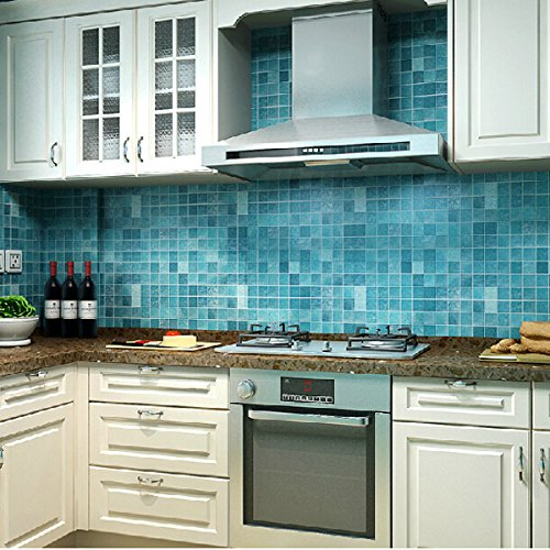 Bluelover Wallpaper Blue Oil Mosaico Impermeabile Wall Sticker Autoadesivo di Alluminio anti Cucina 45x500cm