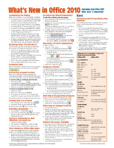 What's New in Microsoft Office 2010 (from 2007) Quick Reference Guide (Cheat Sheet of New Features & Instructions - Laminated Card)