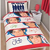 One Direction Memorabilia Kids Reversible Quilt/Duvet Cover Bedding Set (Twin Bed) (Cream/Red)