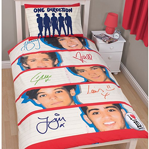 One Direction Memorabilia Kids Reversible Quilt/Duvet Cover Bedding Set (Twin Bed) (Cream/Red) (Comforter One Direction compare prices)