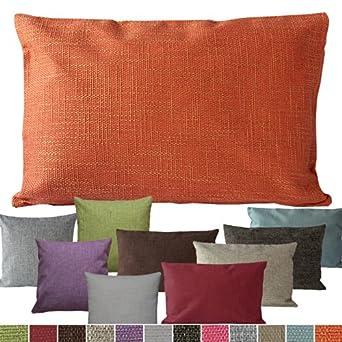 hochwertige Kissenhülle in Leinen-Optik 40x40 50x50 40x60 cm mit Farbwahl (Pink, 40 x 40 cm)