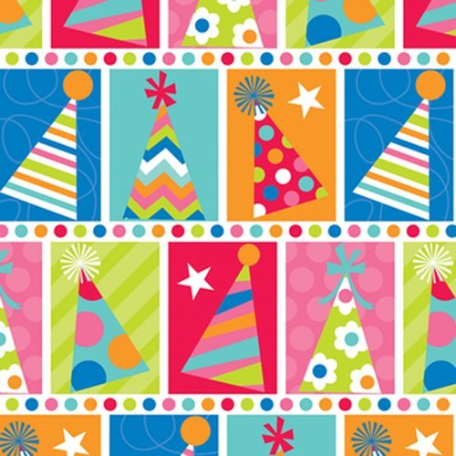 The Gift Wrap Company Deluxe Quality Gift Wrap Roll, Party Hat Check front-528750