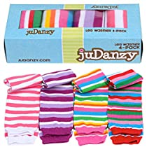 juDanzy Girl Stripes baby leg warmers 4 pack in pinks & purple for babies, toddlers and children