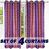 "Story@Home Nature Designer Eyelet 4 Piece Polyster Window Curtain Set - 46"" x 60"" (5ft), Purple Dots"