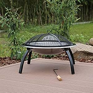 kleine feuerschale aus edelstahl mit grill grillschale. Black Bedroom Furniture Sets. Home Design Ideas