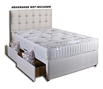 Comfort Rest Divan Bed with Memory Foam Mattress 4 Draws No Headboard- King Size (5'0)