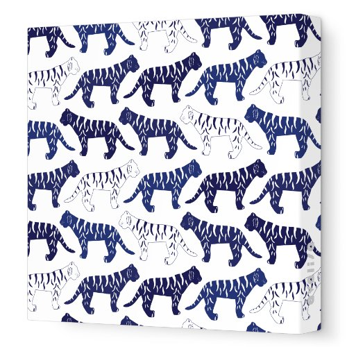 "Avalisa Stretched Canvas Nursery Wall Art, Tiger Pattern, Navy, 12"" x 12"""
