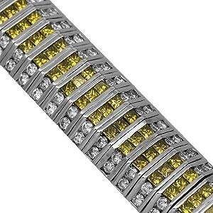 14K White Gold Mens Diamond Bracelet with Yellow Diamonds 28.39 Ctw