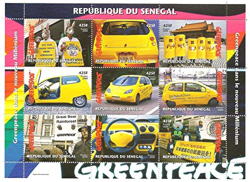 greenpeace-souvenir-stamp-sheet-featuring-photos-of-several-greenpeace-rallies-senegal-2000