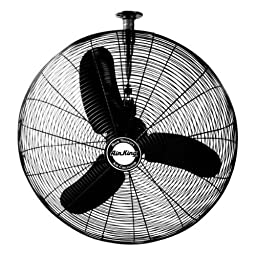 Air King 9374 24-Inch Industrial Grade Oscillating Ceiling Mount Fan, 1/3-Horsepower, Black Finish