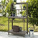 Coral Coast Coral Coast Potting Bench with Hanging Grate - Dark Brown Stain, Wood