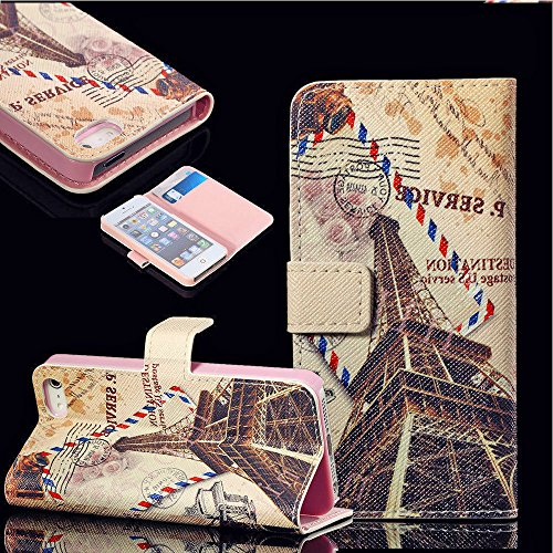 Mylife (Tm) Cornsilk White + Baby Pink Postal Paris - Glamorous Design - Textured Koskin Faux Leather (Card And Id Holder + Magnetic Detachable Closing) Slim Wallet For Iphone 5/5S (5G) 5Th Generation Itouch Smartphone By Apple (External Rugged Synthetic