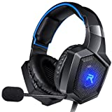 RUNMUS Stereo Gaming Headset for PS4, Xbox One, Nintendo Switch, PC, PS3, Mac, Laptop, Over Ear Headphones PS4 Headset Xbox One Headset with Surround Sound, LED Light & Noise Canceling Microphone (Color: Black)