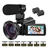 Video Camera, Kenuo 4K Camcorder 48MP 4K Video Camera Ultra HD Digital Video Camera with External Microphone 3.0