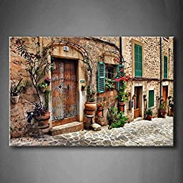 Modern Home Decoration painting Streets Of Old Mediterranean Towns Flower Door Windows The Picture Print On Canvas Architecture Pictures