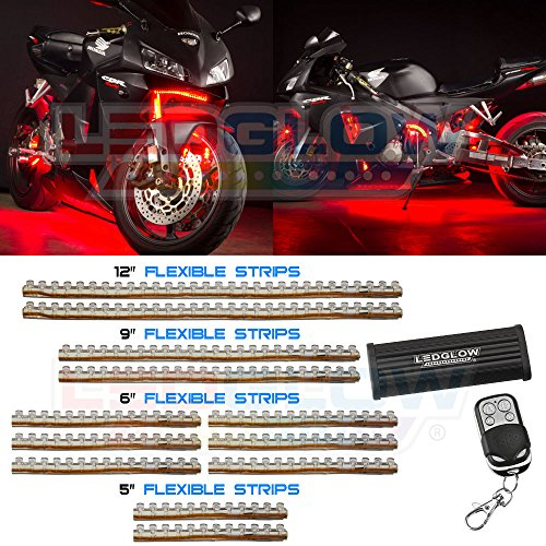 12Pc Red Led Flexible Motorcycle Light Kit