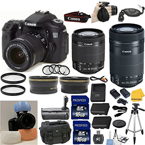 Canon Eos Rebel 70D Digital Slr Camera + Canon 18-55 Stm Standard Zoom Lens + Canon 55-250 Is Stm Zoom Lens + .43X Auxiliary Wide Angle Lens + 2X Telephoto Auxiliary Lens + 2Pcs Uv Filters + Extra Battery And Rapid Travel Charger + 4Pc Macro Lens Set + 33