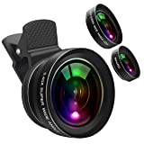Cell Phone Camera Lens Kit, 0.45X Wide Angle Lens,15X Marco Lens, Portable Leather Bag for iPhone Samsung Sony, Compatible iPhone,Samsung, Most Andriod Phones (Color: Black, Tamaño: 3.4 x 2.7 x 2.6 inches)